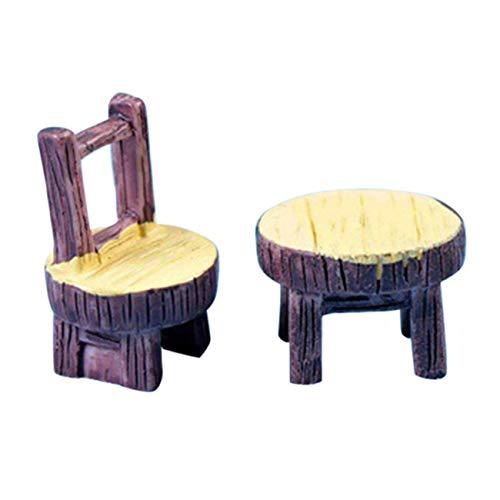 FYstar Moos Mikro-Landscape-Dekoration für Sukkulenten, runder Tisch und Stuhl, Kunstharz, kleine Ornamente, Bastelmaterial (S)