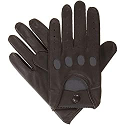 Best Driving Gloves In The World - Isotoner Men's Smooth Leather Driving Glove with Covered Snap