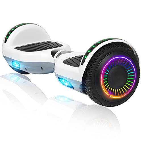 Felimoda Hoverboard with Bluetooth Speaker & LED Lights, 6.5' Self-Balancing Scooters Hoverboard for Kids and Adults(White Gray)
