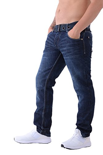 Crosshatch, Classic, jeans denim da uomo a gamba dritta e con vestibilità regolare, tutte le taglie, con cintura Blu scuro: Techno18. 94