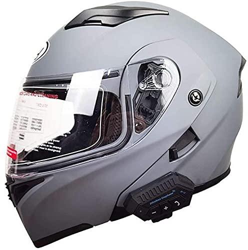 Casco de motocicleta de timón con auriculares Bluetooth Casco plegable Modular Modular Fullface Fullface Helm Mujeres para adultos Casco Integral de Hombre Casco protector con Sun Visor Roller Scooter