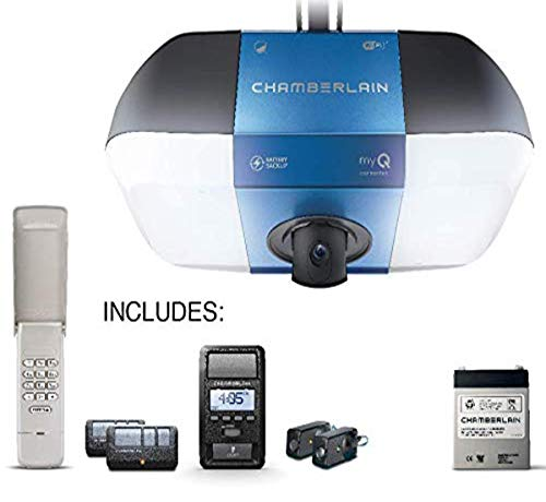 Chamberlain B6765T Smart Garage Door Opener w/Built in HD Camera,Battery Backup & Bright LED Lighting - myQ Smartphone Control- Ultra Quiet,Strong Belt Drive and MAX Lifting Power,Wireless Keypad Incl