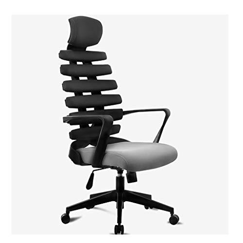 XNLIFE eenvoudige computer Racing spel stoel zwart + grijs mesh ademende stof bureaustoel, holle visgraat hoge rugleuning, verstelbare hoogte, ligstoel, hoofdsteun voor keuken of bar