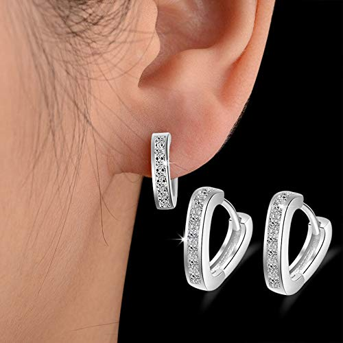 Home CNLXDSB Earring Real 925 Sterling Silver V-Shaped Heart Zircon Hoop Earrings Making Fashion Jewelry for Women Girls