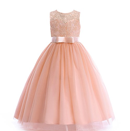 Glamulice Girls Lace Bridesmaid Dress Long A Line Wedding Pageant Dresses Tulle Party Gown Age 3-14Y (3-4Y, Peach)