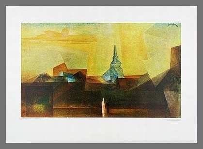 Lyonel Feininger Poster Kunstdruck Nermsdorf mit Alu Rahmen in Champagne