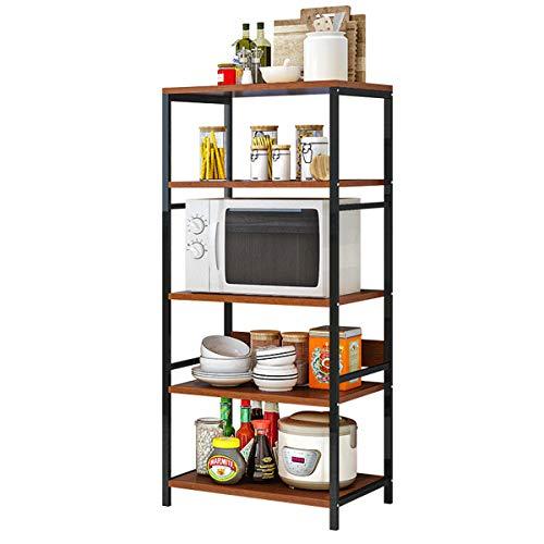 Plasaig - Estantería de almacenamiento de metal, resistente, para uso general, para microondas, horno, cocina, 5 niveles, 60 x 35 x 132 cm