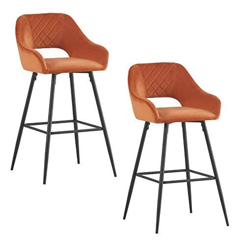 Sgabello da bar in velluto imbottito, sedie con braccioli e braccioli da cucina, sgabello alto, supporto Black Metal Legs per casa, cucina e counter (2, arancione)