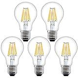 Bonlux 8W E27 Screw Dimmable Antique LED Filament Bulb Warm White 2700K A60 GLS Shape ES LED Vintage Edison Light Bulb 60W-80W Incandescent Equivalent (5-Pack, Dimmable)