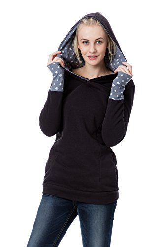 GoFuture Damen Umstandshoodie Stillpullover 3in1 EVIA GF2409 (Large, Schwarz Plus weiße Sterne auf Hellgrau)