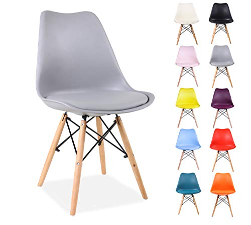 All About Chairs Modern Style Kitchen Dining Chair Plastic With Soft PU Leather Padded Cushion Solid Wooden Legs And Metal Frame, Light Grey