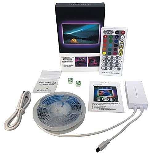 bobotron Tira de luces LED 5 m, RGB LED con control remoto por infrarrojos, iluminación de fondo de TV, luces LED RGB 5050, sincronización de música