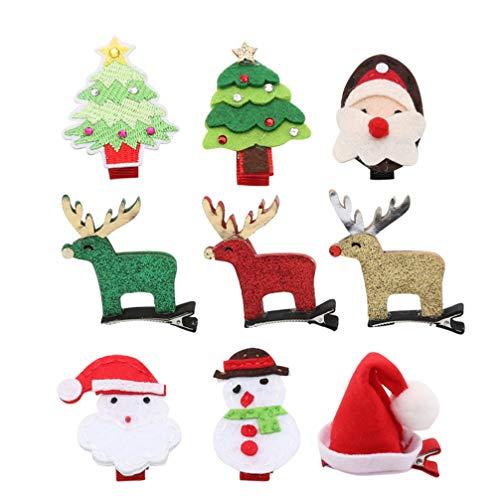 Beaupretty 9pcs Pinza de Pelo de Navidad Reno de Santa árbol de Navidad Brillo Horquillas Tocado de Navidad Regalo...