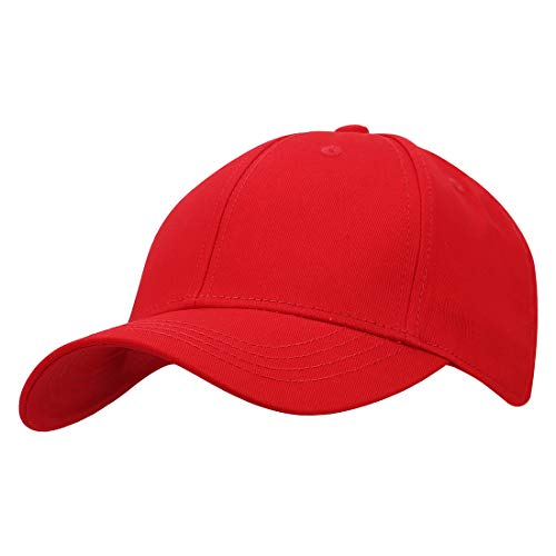 KeepSa Baumwolle Baseball Cap, Basecap Unisex Baseball Kappen, Baseball Mützen für Draussen, Sport oder auf Reisen - Reine Farbe Baseboard Baseballkappe Kappe, Mütze (Rot)