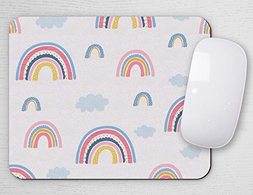 Mouse Pad for Kids, Mousepad for Children, Desk Accessories, Rectangle, Office Decor, Girl Mouse Pad, Boy Mousepad, Study Room (Bright Rainbows)