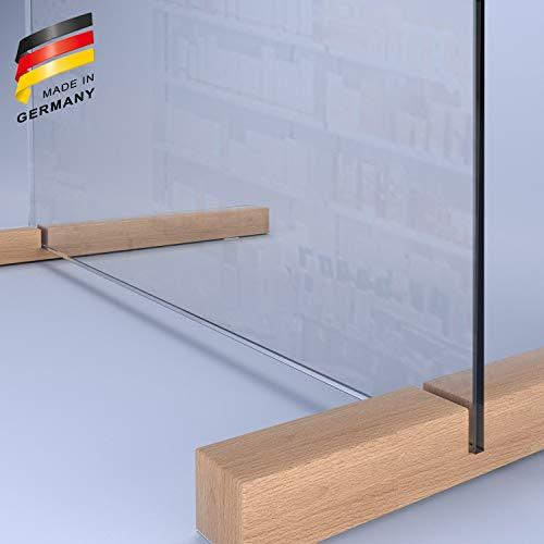 SARAR Spuckschutz aus 8mm echtes SICHERHEITSGLAS - (B) 120 cm x (H) 80 cm - Made in Germany - Antibakteriell Hustenschutz Thekenaufsatz Niesschutz Spritzschutz Virenschutz ESG F1