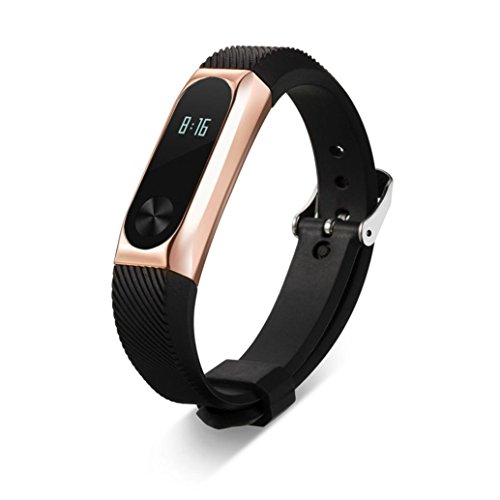 SHOBDW Xiaomi Mi 2 Armband, Ersatz Armband Band Strap + Metall Tasche für Xiaomi Mi Band 2 Armband (Rose Gold, 170-220mm)