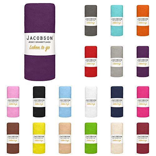 Jacobson Laken to GO Spannbettlaken Jersey Bettlaken Spannbetttuch 90x200 cm - 100x200 cm (Royal Lila)