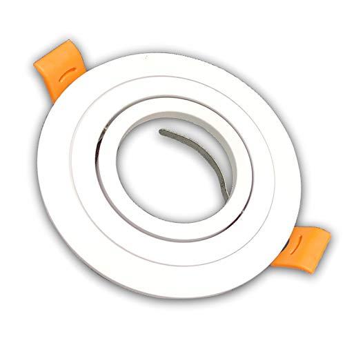 Pack 10x Aro Redondo para Foco Empotrable Aluminio. Aro Downlight. Soporte para GU10.