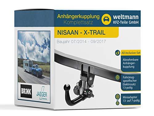 Weltmann AHK Komplettset geeignet für Nissan X-Trail Brink Abnehmbare Anhängerkupplung + fahrzeugspezifischer Jaeger Automotive Elektrosatz 13-polig
