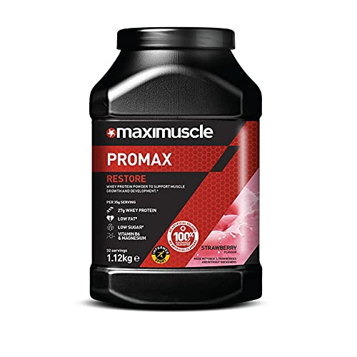 Maximuscle Promax Restore Whey Concentrate Protein Powder for Muscle Growth and Development, Strawberry, 1.12 kg - 32 Servings