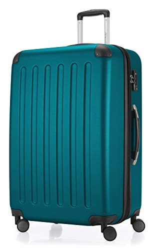 HAUPTSTADTKOFFER - Spree - Hartschalen-Koffer Koffer Trolley Rollkoffer Reisekoffer Erweiterbar, 4 Rollen, TSA, 75 cm, 119 Liter, Aquagrün