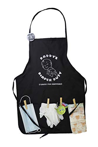 Daddys Diaper Duty Black Apron Great Gift for New Dad to be