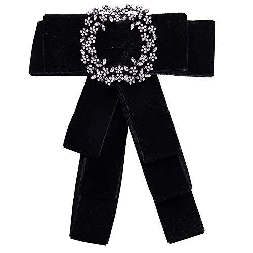Wantschun Damen Schleifenbrosche Streifen Strass Perle Schmuckbrosche Bowknot Kleid Schleifen Blusen Brosche Design K: Schwarz