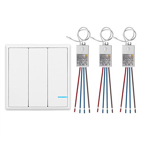 TSSS 3-Wege Funkschalter Fernschalter Funk Lichtschalter mit Empfänger LED Anzeige Licht - Fernbedienung Multi-Einheit Lampen - Schnell erstellen für Küchenumbau, Neuen Wohnung, Außenleuchte