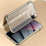 HHZY Anti-Spy Funda para iPhone 13 Pro MAX Magnética Anti-Peep Carcasa con Privacy Vidrio Templado Protector de Lente de Cámara Anti Separado Metal Bumper Anti-Pío Case,Oro,For 13 Pro