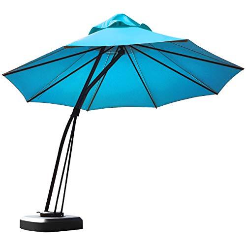 Tangkula 11 FT Offset Patio Umbrella, Aluminum Frame Double Top Hanging Umbrella with Weight Base, 360° Rotation Outdoor Market Umbrella for Backyard, Pool, Beach