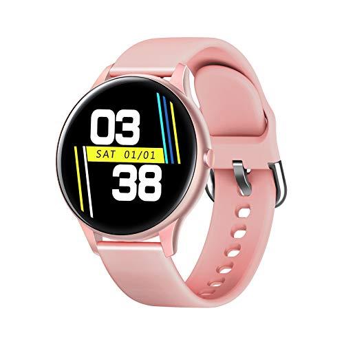 LZXMXR Reloj inteligente Anillo deportivo de círculo completo de 1,3 pulgadas, contador de pasos, recordatorio de distancia de calorías, mensaje sedentario (color rosa