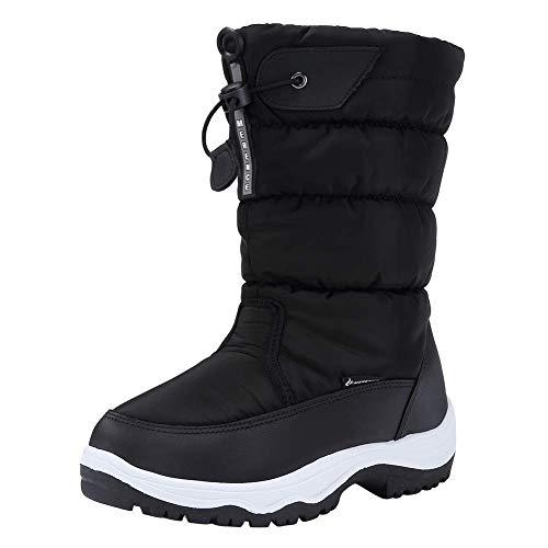 CIOR Women's Snow Boots Winter II Waterproof Fur Lined Frosty Warm Anti-Slip Boot U120WMX001-Black-39