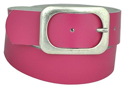 Dayneq 5cm Breit Leder Guertel Altsilber Nickel Free Schnalle-Pink-90cm Bundweite