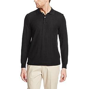 [セシール] ポロシャツ ディリーポロシャツ 抗菌防臭 吸汗速乾 UVカット 長袖 JK-270 メンズ ブラック 日本 L (日本サイズL相当)
