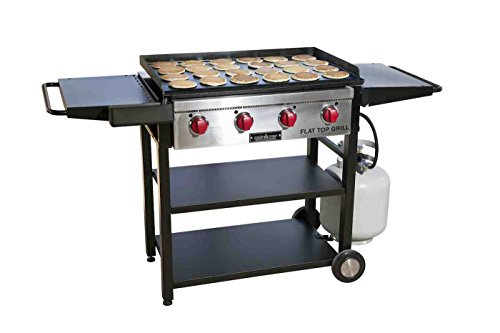 Camp Chef Flat Top Grill, True Seasoned Griddle Surface, Four 12,000 BTUs/Hr. stainless steel Burners