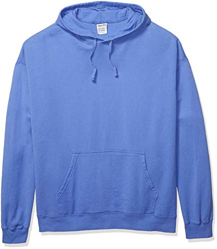 Hanes Men's ComfortWash Garment Dyed Fleece Hoodie Sweatshirt, deep Forte Blue, Medium