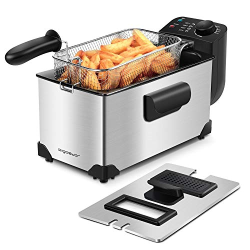 Aigostar Deep Fryer 2200W, 3L, 304 Stainless Steel, with Viewing Window,...