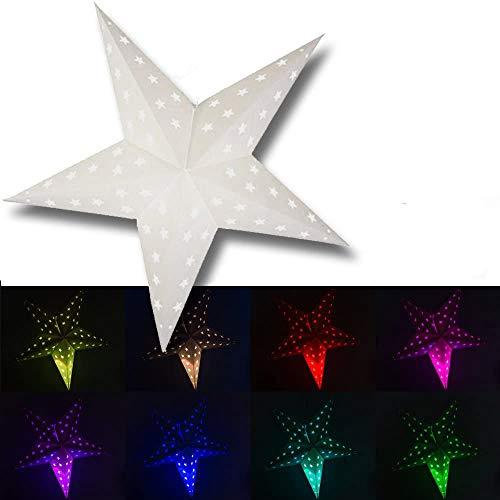Hochwertiger Fensterstern mit Fernbedienung inklusive 3 Watt LED Leuchtmittel mit RGB Farbwechselfunktion oder weißem Licht einstellbar, extra lange 3,5 Meter Zuleitung. Stern, Fensterbeleuchtung