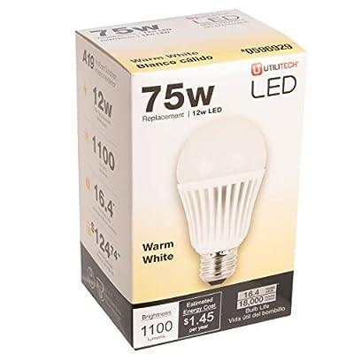 Utilitech LED Light Bulb 12 Watt 75 Watt Equivalent A19 Plastic Light Bulb Warm White 1100 Lumens LED Non-Dimmable Standard Base Light Bulb