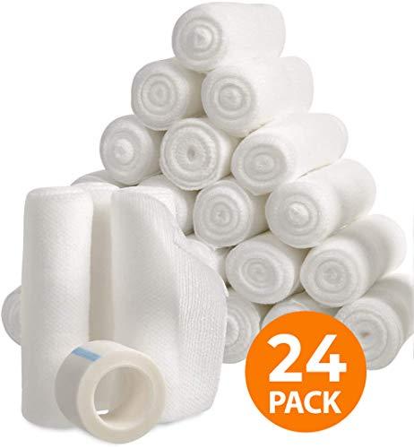 Gauze Bandage Rolls with Tape, Stretch Bandage Roll, 4 x 4 Yards Stretched, Breathable White Gauze Bandages, Bulk Gauze Rolls for Home, Gym & Office Use, Absorbent Bandage Rolls (24)