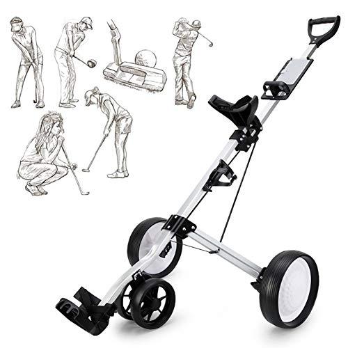 TANCEQI 4-Rad Golf Push Trolley Golftrolley Golfwagen Professional, Für Golftaschen/Golfbags Wagen, Scorecard, Fußbremse, Leichtgewicht, Einfach Zu Tragen Und Zu Falten