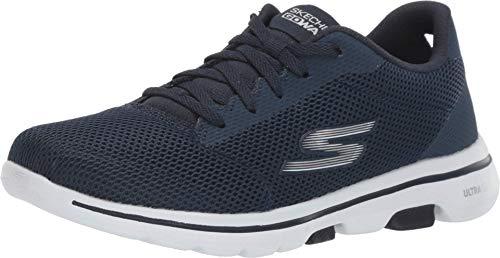 Skechers Damen Go Walk 5 - Lucky Sneaker, Blau (Navy Textile/White Trim Nvw), 41 EU