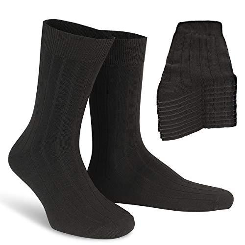 Calcetines hombres 43-46 - Calcetines canalé negros algodón trabajo negocios - Calcetín clásico – Calcetines largos hombre - Calcetines ejecutivos – Calcetines altos tallas 43, 44, 45, 46 - Pack de 10