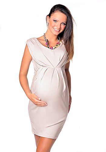 Purpless Damen Umstandskleid Schwangerschaft Cocktail-Kleid Knielang Ärmellos 8437 (38, Beige)