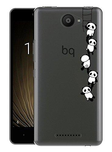 Sunrive Für BQ Aquaris U/U Lite Hülle Silikon, Transparent Handyhülle Schutzhülle Etui Hülle Backcover für BQ Aquaris U/U Lite(TPU Panda)+Gratis Universal Eingabestift