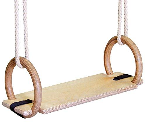 Sport-Thieme Schaukelbrett für Turnringe aus Holz | Schaukelsitz für Ringeanlage aus eigener Fertigung | Maße: 60x20x2,1 cm, Sitzfläche 47x20 cm | Bis 120 kg belastbar | Gewicht: 2 kg