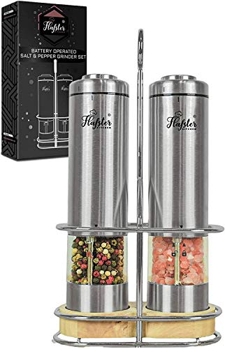 Electric Salt and Pepper Grinder Set - Battery Operated Stainless Steel Salt&Pepper Mills(2) by Flafster Kitchen -Tall Power Shakers with Stand - Ceramic Grinders with lights and Adjustable Coarseness