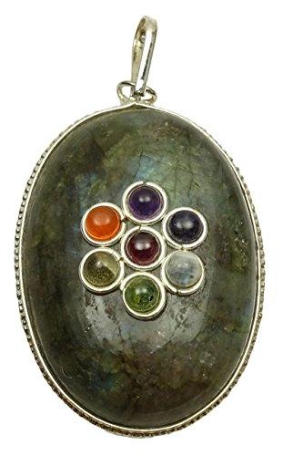 Harmonize - Ciondolo Rotondo per 7 Chakra, Pietra Sodalite, Cristallo di guarigione Reiki, Cristallo, Verde (Labradorite), Black Gift Pouch