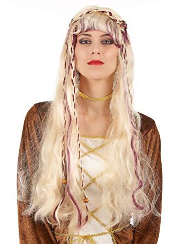 DEGUISE TOI - Perruque Blonde médiévale Femme - Taille Unique